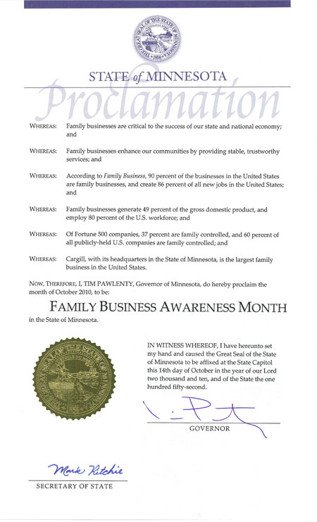 State of Minnesota Proclamation: Family Business Awareness Month in Minnesota - October 2010